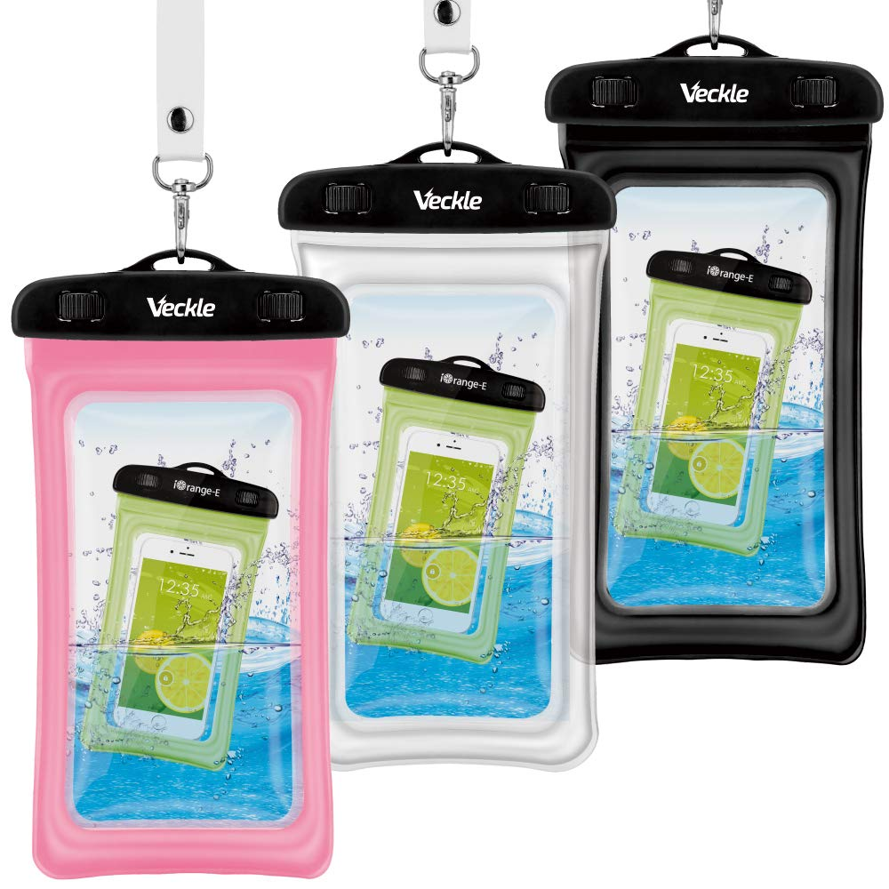 Waterproof Phone Pouch, Veckle 3 Pack Clear Universal Water Proof Cell Phone Pouch Floating Dry Bag Waterproof Case Beach Bag for Smartphones Black White Pink