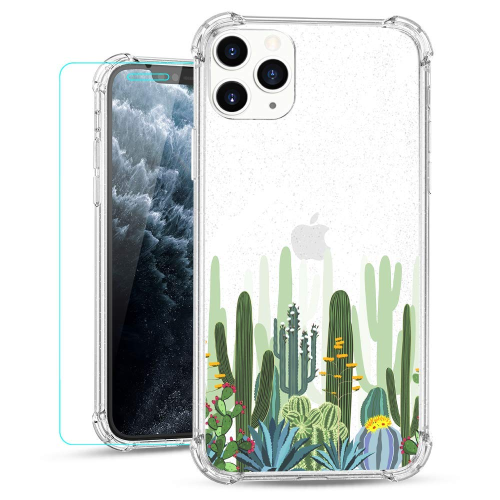 Ruky iPhone 11 Pro Max Clear Floral Flower Case with Glitter Design Women Girls Ultra-Thin Soft TPU Shockproof Protective Cover for iPhone 11 Pro Max 2019 (Cactus)