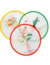 iSuperb Set of 3 Unit Japanese Style Foldable Beautiful Pattern Round Handheld Folding Fans Great Wedding Decoration, Birthdays, Home Gifts Random Color&Pattern
