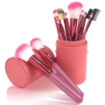 Makeup Brush Sets - 12 Pcs Makeup Brushes With Leather Case Snaps For Foundation Eyeshadow Eyebrow Eyeliner Blush Powder Concealer Contour