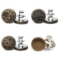 YoTelim 4 PCS Button Pins for Jeans, No Sew Needed Jeans Button Pins Removable and Reusable Metal Button, Tool Free DIY Fashion in Cowboy Clothing Jackets Bags-style2