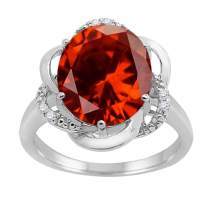 MauliJewels Rings for Women 4.53 Carat Garnet and Diamond Flower Ring 4-prong 10K White Gold Gemstone Wedding Jewelry Collection