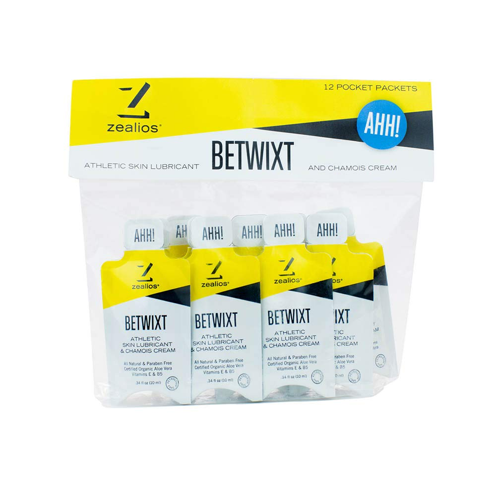 Zealios Betwixt Athletic Anti-Chafe Cream – All-Natural, Organic Skin Lubricant & Chamois Cream   On-The-Go Single Use Packets - 12 Pack