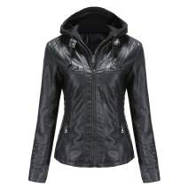 Tagoo Women's Faux Leather Jacket Motorcycle Coat for Biker with Removable Hooded