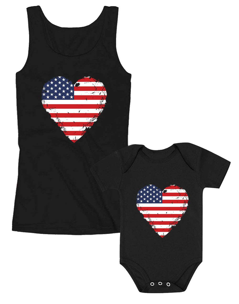 USA Heart Flag Patriotic Shirts Mother & Baby Matching Set 4th of July Outfit