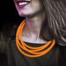 Lumistick 22 Inch Glow Stick Necklaces | Non-Toxic & Kids Safe Light Up Neckwear | Bendable Sticks with Connectors | Glows in The Dark Night Party Favor (Orange, 200 Necklaces)