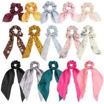 TOBATOBA 15 Pack Hair Scrunchies for Women Bowknot Satin Scarf Hair Scrunchies Chiffon Ribbon Bow Scrunchies Hair Ties Bowknot Scrunchies Ponytail Holder Hair Accessories