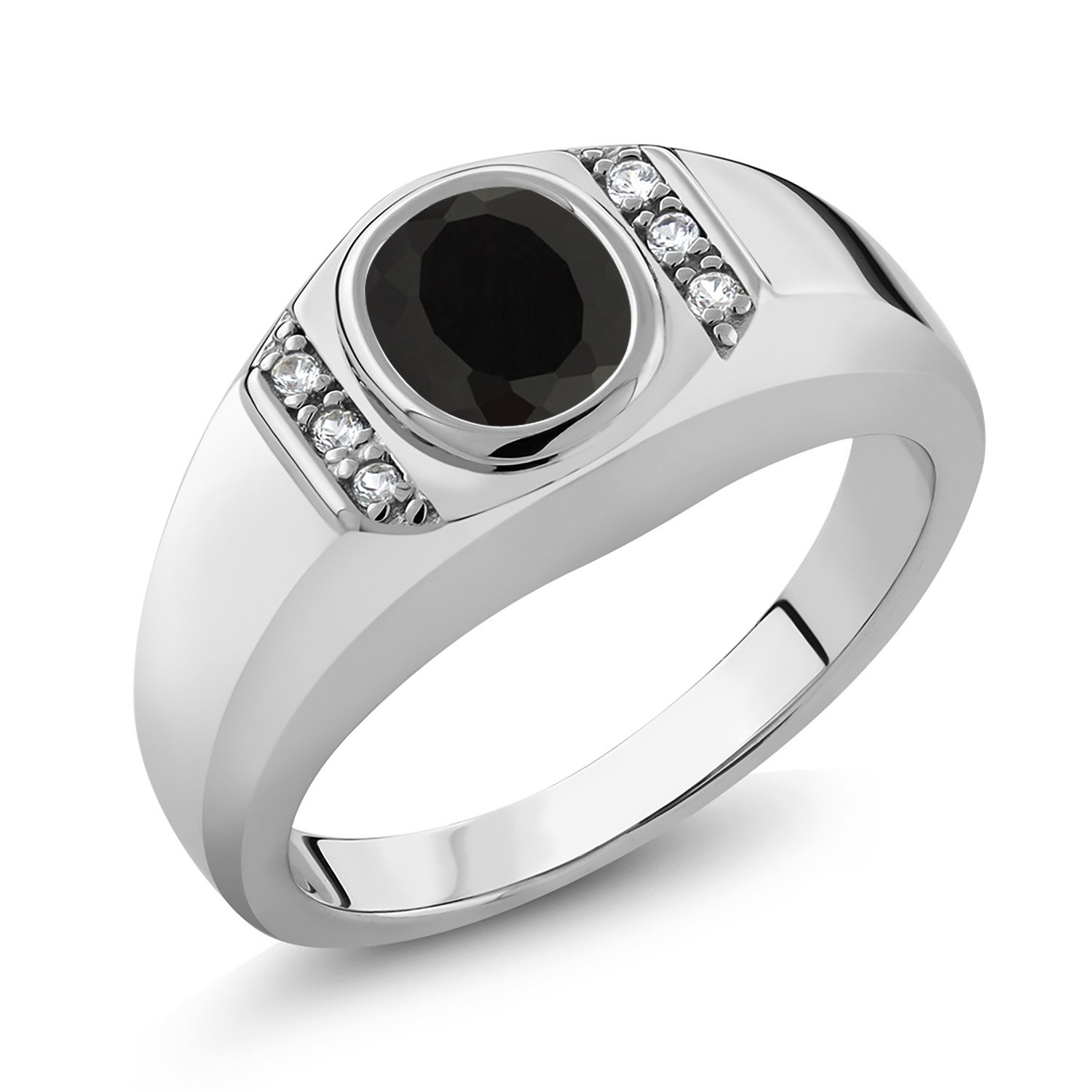 Gem Stone King Men's 925 Sterling Silver Black Onyx and White Created Sapphire Ring (1.31 Ct Oval, Gemstone Birthstone, Available in size 7, 8, 9, 10, 11, 12, 13)