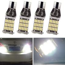 EverBright 4-Pack Extremely Bright 900Lums,12V White 921 912 906 T15 W16W 4014 45-SMD Non-Polar Sensitive LED Lights Car Replacement Bulbs for Backup Reverse Side Marker Light