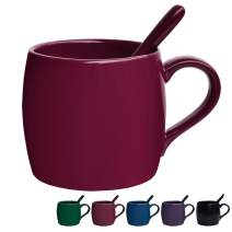 Bosmarlin Ceramic Coffee Mug with Spoon, Tea Cup for Office and Home, 14 oz, Dishwasher and Microwave Safe, 1 Pack (Red(Glossy))