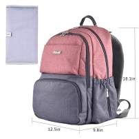 Baby Backpack,Multi-Functions Diaper Bag Backpack Durable and Stylish Nappy Organizer with Changing Pad Gray and Pink