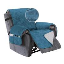 """Turquoize Recliner Cover Velvet Recliner Chair Cover, Pet Cover for Recliner with Elastic Straps Recliner Seat Width Up to 23"""" Sofa Slipcover Furniture Protector (Medium, Peacock Blue)"""