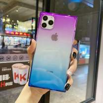 iPhone 11 Pro Max Case for Women,Tzomsze Clear Square Case Cute Gradient Slim Silicone Transparent Reinforced Corners TPU Cushion Cover Case for iPhone 11 Pro Max [6.5 inch]-Purple Blue