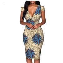 Afripride African Ankara Print Women Casual Pencil Dress Short Sleeve Knee Length 100% Batik Cotton Made AA1825074A