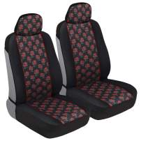 BDK Red Rose Print Car Seat Covers, Front Seats Only – Flower Pattern Front Seat Cover Set with Matching Headrest, Sideless Design for Easy Installation, Universal Fit for Car Truck Van and SUV