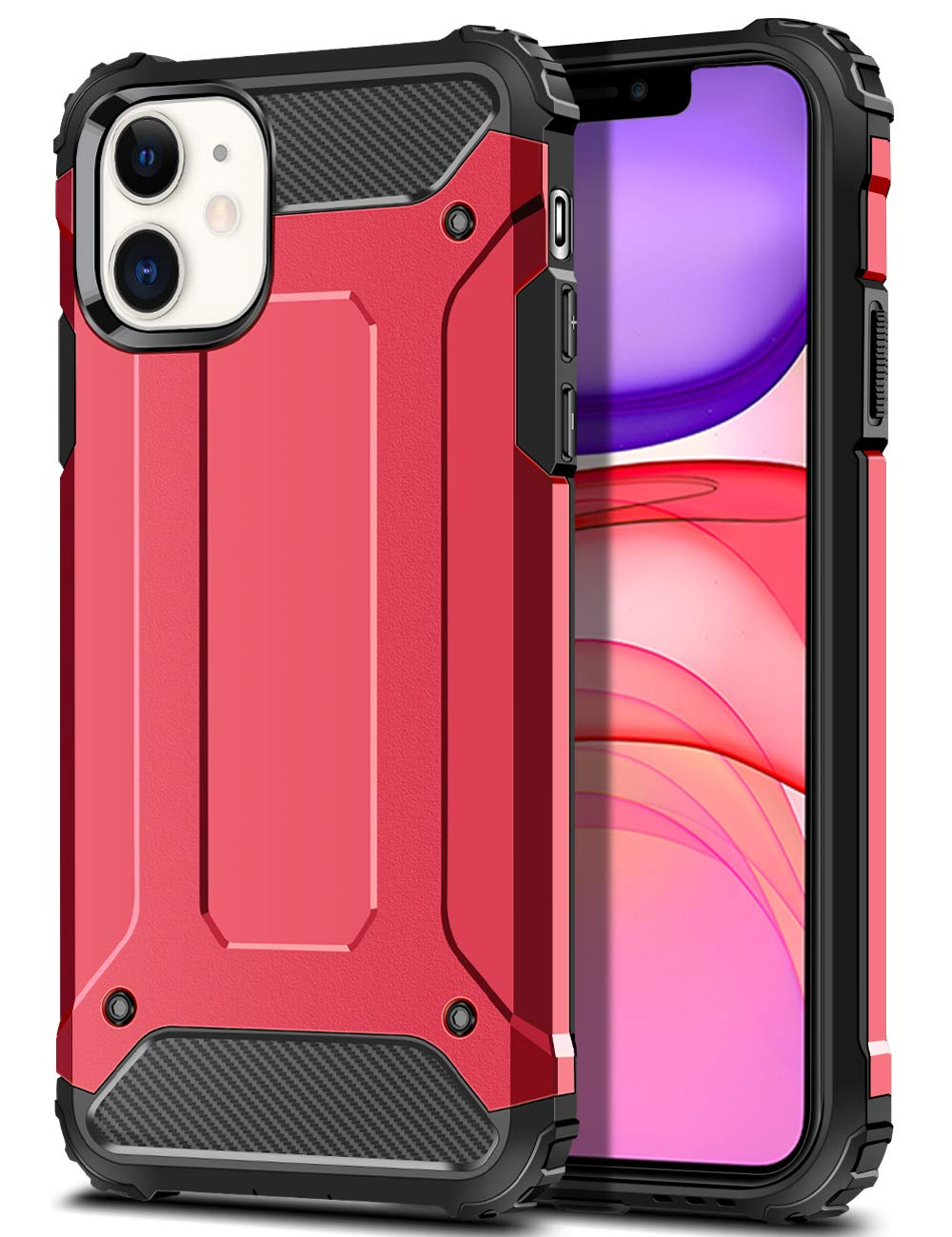 WOLLONY for iPhone 11 Case Rugged Heavy Duty Armor Hybrid Dual Layer Slim Fit Hard Impact Resistant Phone Case Anti-Scratch Durable Cover for iPhone 11 6.1 inch Support Power Sharing Red