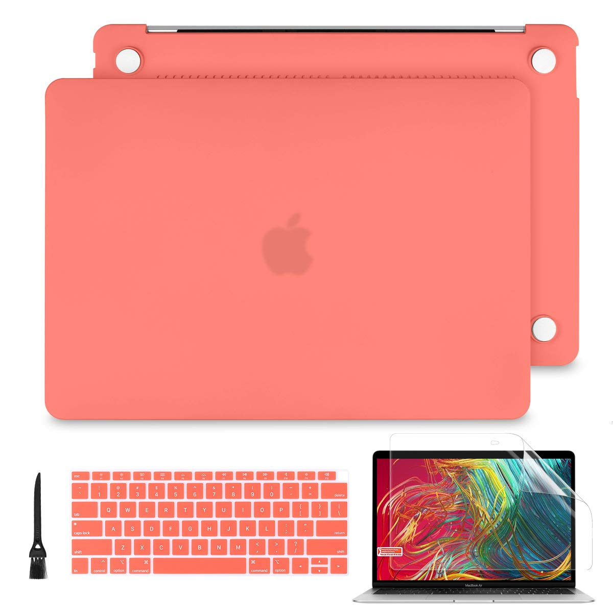 Batianda 2019 2018 MacBook Air 13 A1932 Case, Soft Touch Hard Shell Cover for New MacBook Air 13.3 Inch with Retina Display Touch ID with Keyboard Skin & Screen Portoector - Living Coral
