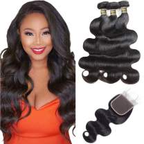 Brazilian Body Wave 3 Bundles With Closure (18 20 22 + 16) Unprocessed Brazilian Human Hair Weave Bundles Body Wave Virgin Hair 3 Bundles With 4X4 Lace Closure Can Be Dyed And Bleached Natural Color.