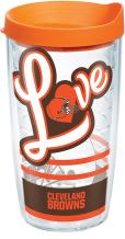 Tervis 1280531 NFL Cleveland Browns Love Tumbler with Wrap and Orange Lid 16oz, Clear
