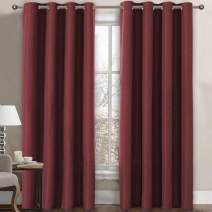 Linen Blackout Curtain 84 Inches Long for Bedroom / Living Room Thermal Insulated Grommet Linen Look Curtain Drapes Primitive Textured Burlab Effect Window Drapes 1 Panel - Burgundy