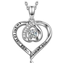 ANGEL NINA Mothers Day Necklace Gifts Women I Want to Tell You I Love You Engraved 925 Sterling Silver 5A Cubic Zirconia Heart Pendant Necklace for Women, Gifts for Elegant Anniversary Jewelry Gift