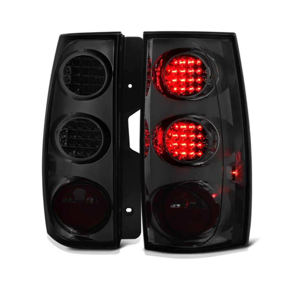 VIPMOTOZ Chrome Smoke LED Tail Light Housing Lamp Assembly For 2007-2014 Chevy Tahoe Suburban GMC Yukon XL 1500 2500 Driver and Passenger Side Replacement Pair