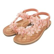 EnllerviiD Women Bohemian Flat Sandals Summer Rhinestone Comfot Elastic Beach Clip Toe T-Strap Flip-Flops Shoes