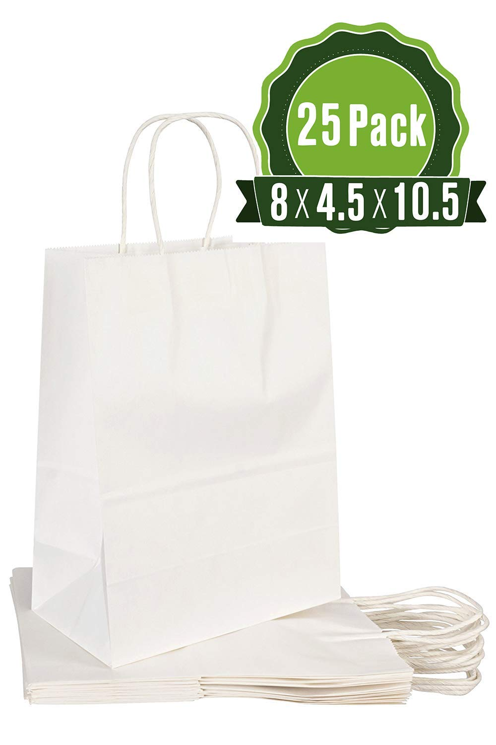 White Kraft Paper Gift Bags Bulk with Handles 8 X 4.5 X 10.5 [25Pc]. Ideal for Shopping, Packaging, Retail, Party, Craft, Gifts, Wedding, Recycled, Business, Goody and Merchandise Bag