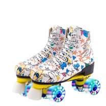 XUDREZ Roller Skates for Women Men Microfiber Leather Fashion Roller Skates Shiny Four Wheels Roller Skates High-top Roller Skates