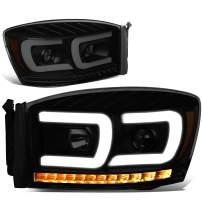 DNA Motoring HL-HPL-RM06-G2-BK-SM-AM Pair LED DRL+Sequential Chasing Turn Signal Projector Headlight