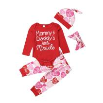 TheFound Newborn Infant Baby Cute Girl Long Sleeve Daddy´s Valentine Romper Outfits +Print Pant Set+Headband+Hat 4PCS Clothes