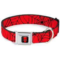 """Buckle-Down Seatbelt Buckle Dog Collar - Spiderweb Red/Black - 1.5"""" Wide - Fits 18-32"""" Neck - Large"""