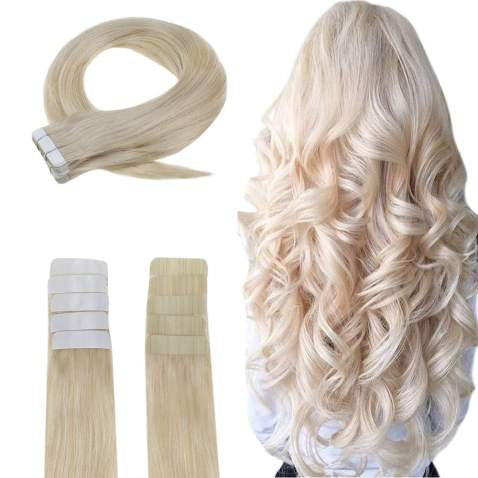 Easyouth Tape in Extensions Real Human Hair Extensions Solid Color Platinum Blonde -14inch 40g, Invisible Extensions Human Hair Easy to Style for Hair Salon Tape on Human Hair Extensions