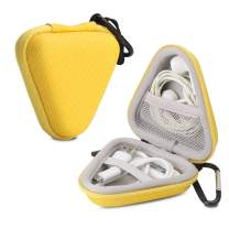 Iksnail Headphone Organizer Bag, Travel Carrying Case Shockproof Portable Storage Pouch for Wireless Earbuds Bluetooth Headphone, USB Flash Drive, USB Cable,Yellow