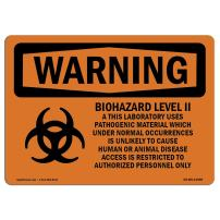 OSHA Waring Sign - Biohazard Level II This Laboratory with Symbol   Aluminum Sign   Protect Your Business, Work Site, Warehouse   Made in The USA