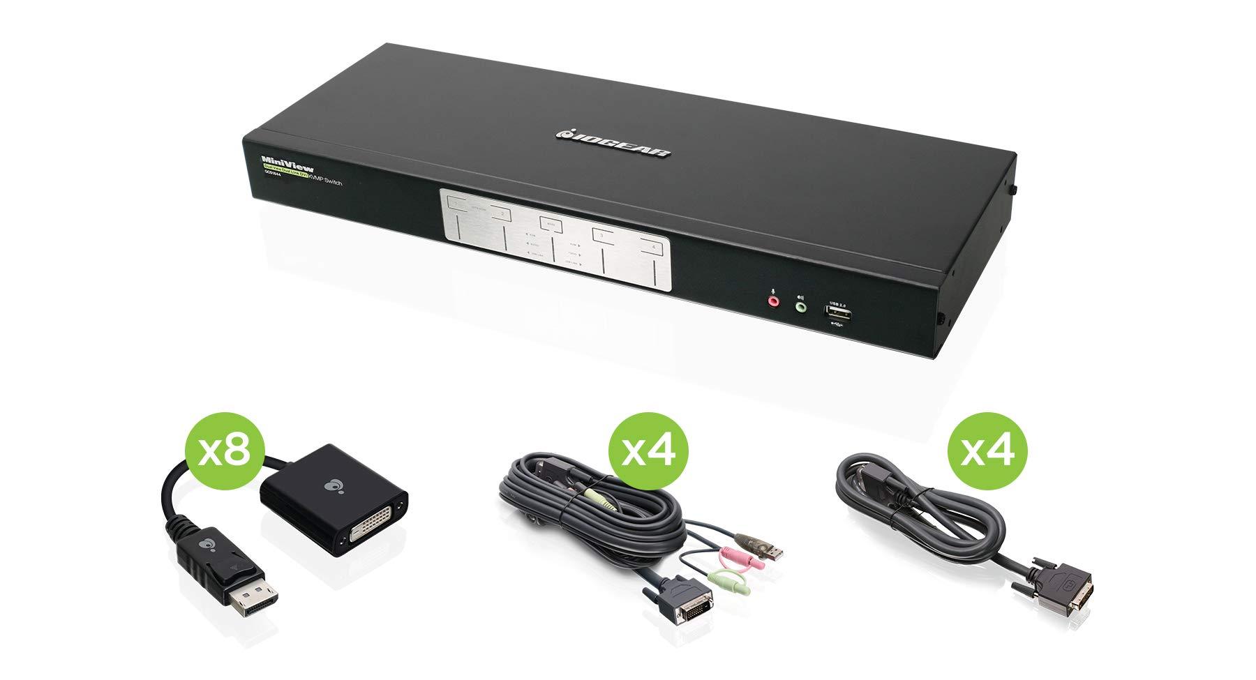 IOGEAR 4-Port Dual-Link Dual View DVI and DisplayPort KVMP Kit, TAA Compliant, GCS1644DPKIT