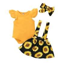 Baby Girls Sunflower Outfit Ruffle Sleeve Romper Tops+Suspender Skirt+Headband 3PCS Clothing Set