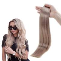 RUNATURE 20 Inches Invisible Tape in Extensions Color 18 Ash Blonde 50g (20 Pieces, 2.5g Per Piece) Human Real Hair for Women