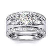 Pophylis Three Stone Engagement Rings Set Gold Fill Accented with Two-Set Matching Half Eternity Band Size 6/7/8/9