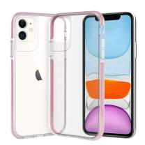ismabo Case for iPhone 11, [10 Ft Military Grade Drop Tested] Protective Case for iPhone 11 Drop Protection Cover Case Shockproof Soft TPU Bumper with Transparent Anti-Scratch Hard Back- Pink Bumper