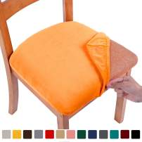 smiry Original Velvet Dining Chair Seat Covers, Stretch Fitted Dining Room Upholstered Chair Seat Cushion Cover, Removable Washable Furniture Protector Slipcovers with Ties - Set of 6, Orange
