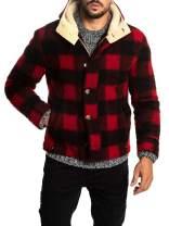 Mens Winter Fleece Fur Lined Hooded Jacket Full Zip Button Up Warm Buffalo Plaid Coats