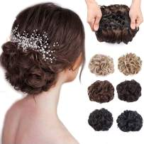 HANYUDIE Messy Bun Scrunchie Chignon Hairpiece Curly Dish Chignon Bun Updo Haircomb Extension Combs in Messy Bun Hair Piece for Women