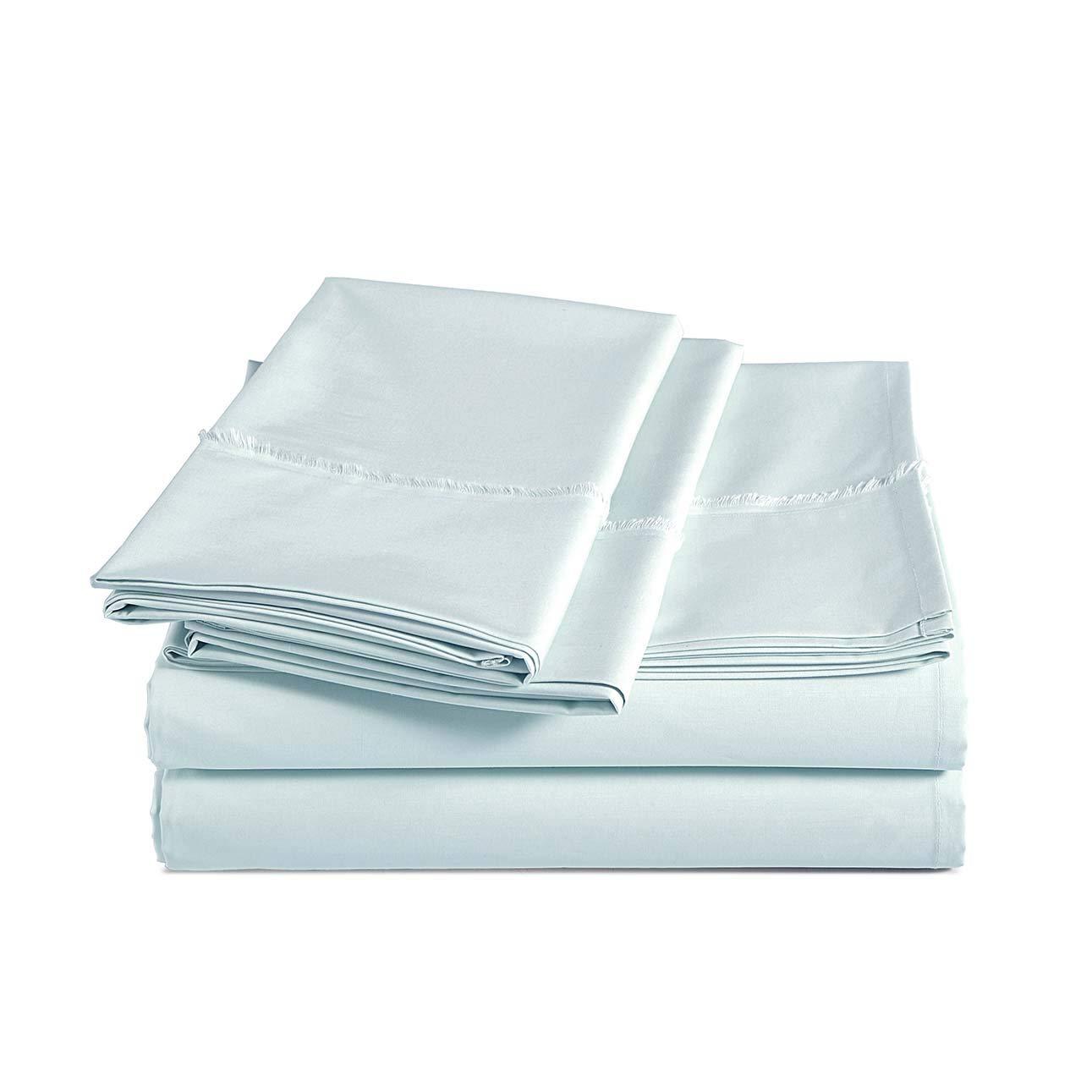 AmazonBasics Organic Percale Cotton Sheet Set with Frayed Hem - Queen, Soft Blue