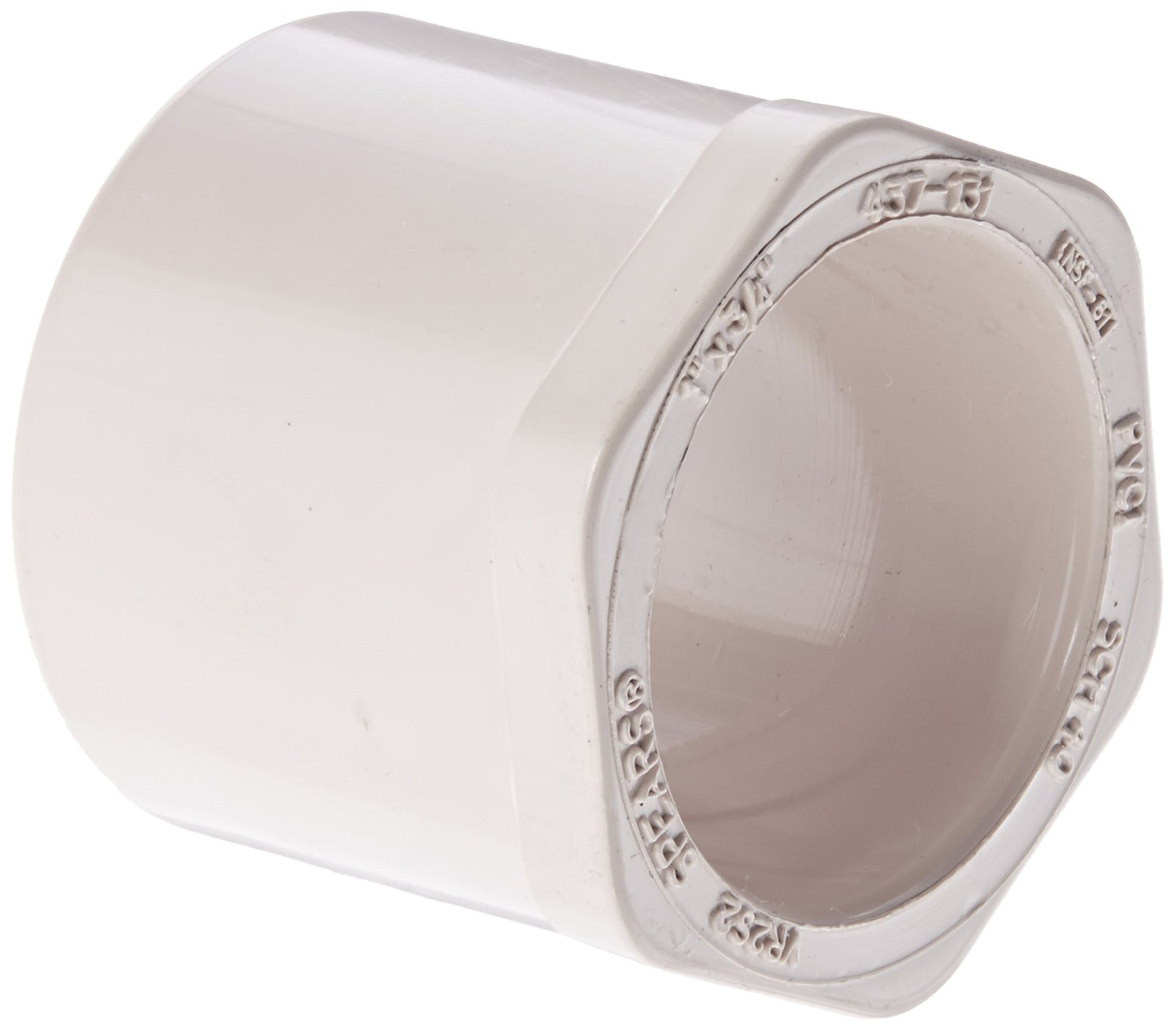 "Spears 437-UV Series PVC Pipe Fitting, UltraViolet Resistant, Bushing, Schedule 40, 1"" Spigot x 3/4"" Socket"
