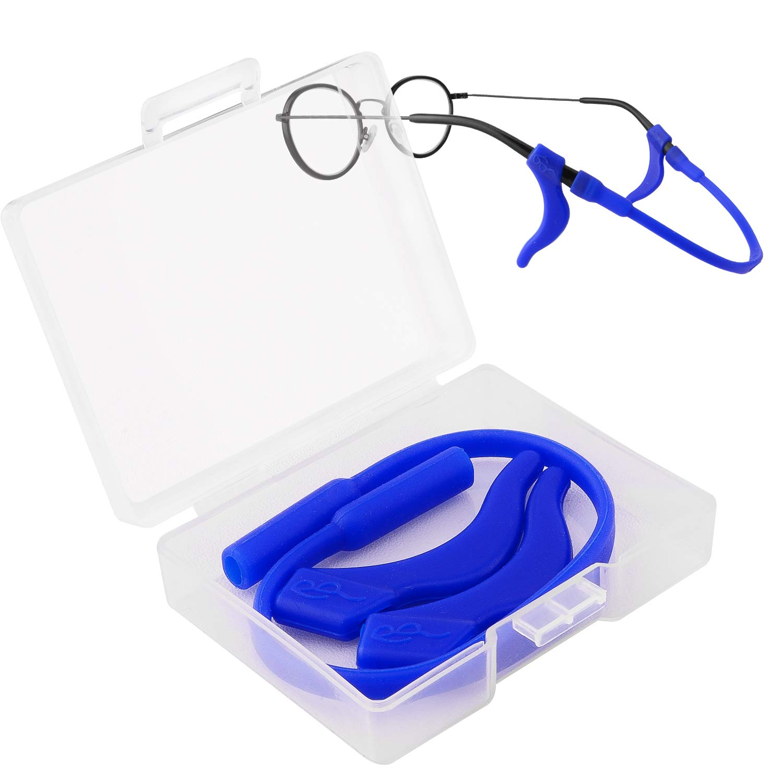 Douper Anti-Slip Eyeglass Strap & Ear Lock Hook Kit for Kids Toddlers Soft Silica Gel Material (4 Random Colors)