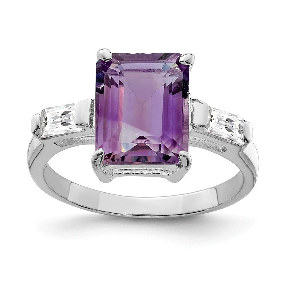 925 Sterling Silver Purple Amethyst Band Ring Stone Gemstone Fine Jewelry Gifts For Women For Her