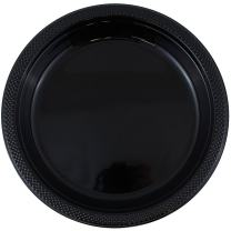 JAM PAPER Round Plastic Party Plates - Medium - 9 inch - Black - 20/Pack