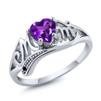 Gem Stone King 925 Sterling Silver Heart Shape Mothers Day Purple Amethyst and Black Diamond Mom MOM Women Ring (Available 5,6,7,8,9)