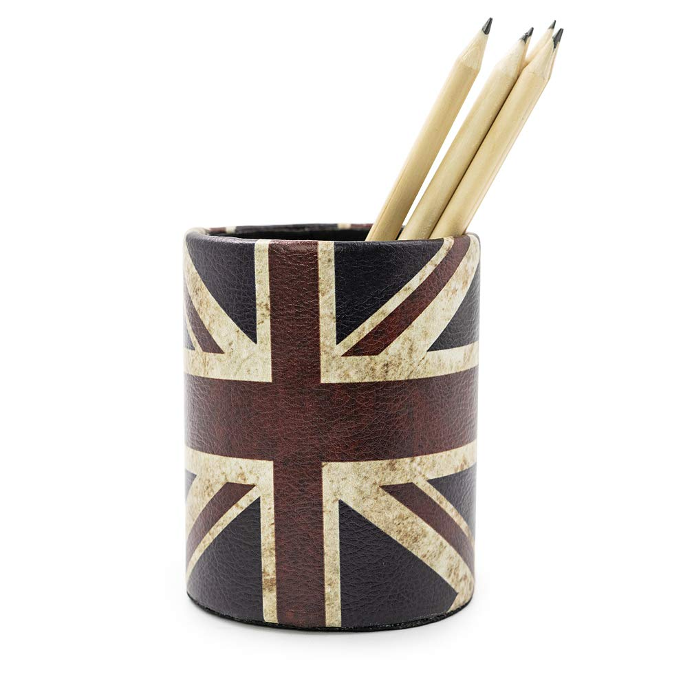 Vintage Pen Pencil Holder Cup - DreamsEden Retro Pattern Desk Organizer for Home Office Bedroom (Union Jack Flag Round)
